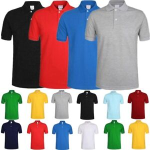 Men-039-s-Polo-Shirt-Dri-Fit-Golf-Sports-Plain-Solid-Jersey-Casual-Cotton-T-Shirt