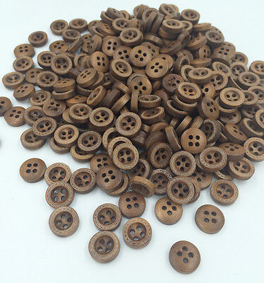 DIY 100PC Wood Buttons Sewing  4 Holes Round Brown 12mm Dia Clothing accessories