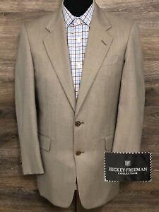 Hickey Freeman Boardroom Men's Wool Beige 2-Button Blazer Sport Coat Jacket 36R