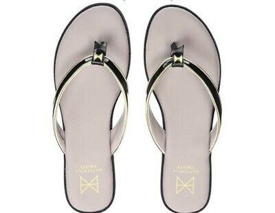 39 Butterfly Twists Bondi Black /& Gold Flip Flops Size 6 Damaged Box
