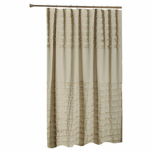 SHABBY VINTAGE LOOK RUFFLED SHOWER CURTAIN COLOR LINEN