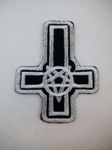 "Black  2/"" Iron On Cross Pentagram Patch Satanic Occult Metal GOTH Deathrock Punk"