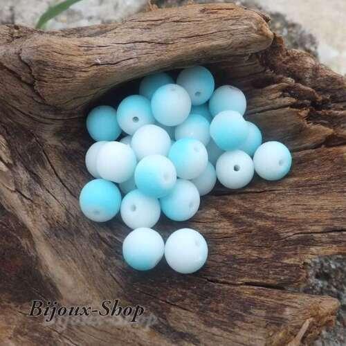 blau /& weiß 50 Böhimien-Perlen 8 mm Wirkung gummiert