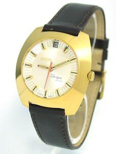 Vintage-Enicar-Sherpa-Star-NOS-Automatic-GMT-144-68-01-Stahl-vergoldet