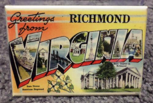"Greetings From Richmond Virginia Vintage Card 2/"" x 3/"" Refrigerator Locker MAGNET"