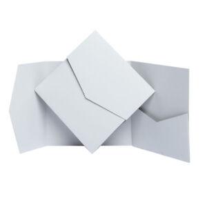 pale grey matte pocketfold invite with envelopes diy pocket