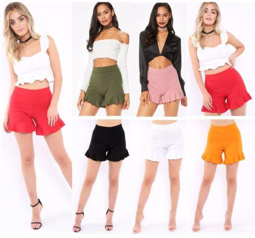 Ruffle Frill Orlo Vita Alta con Cerniera Posteriore Slip Moda Hot Pants Pantaloncini 6-12 SW