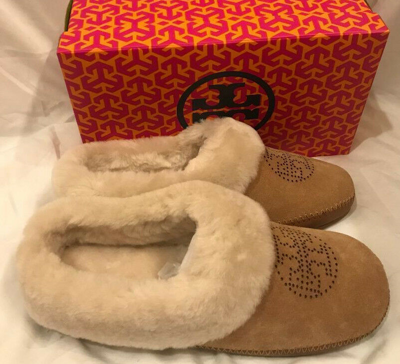 Tory Burch Coley Perforated Slippers Deep Split Suede shoes Royal Tan Size 8 New