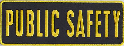 "PUBLIC SAFETY Medium Gold on Black Back Panel Patch 11"" X 4"""