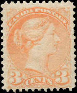 1873-Mint-Regummed-NH-Canada-F-Scott-37-3c-Small-Queen-Issue-Stamp