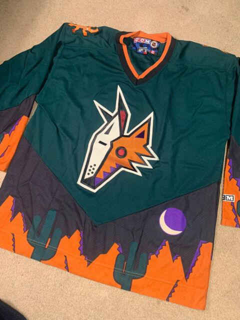PHOENIX COYOTES Peyote Alternate Green CCM Vintage NHL Hockey Jersey XL 3rd