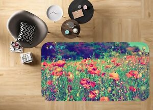 3d Rouge Fleurs 1015 Étage Antidérapant Natte Élégant Tapis Fr Summer