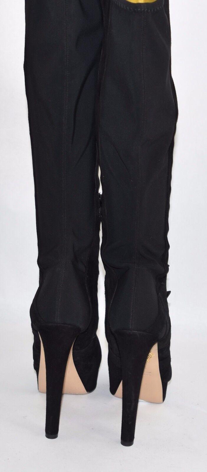 1.5k + CHARLOTTE OLYMPIA 'Alda' Over the Knee Knee Knee Boot HEEL SUEDE BLACK 39.5 (S3) d3d7a9