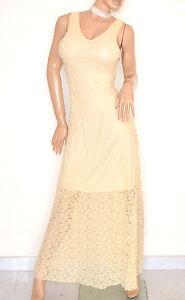 ABITO-donna-LUNGO-vestito-BEIGE-elegante-PIZZO-ricamato-cerimonia-da-sera-E120
