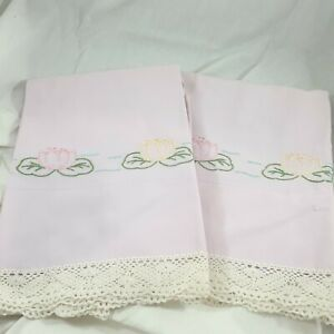 Vintage-Pillowcase-Pair-Lotus-Cannon-pink-water-lily-made-in-USA-handstitched