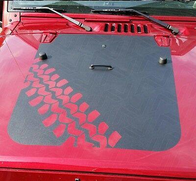 Tire Track Hood Blackout Decal Matte Black w/ install kit Jeep Wrangler JK 07-18