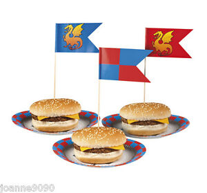 12 medieval knights dragons party flag canap cocktail for Canape cocktail sticks