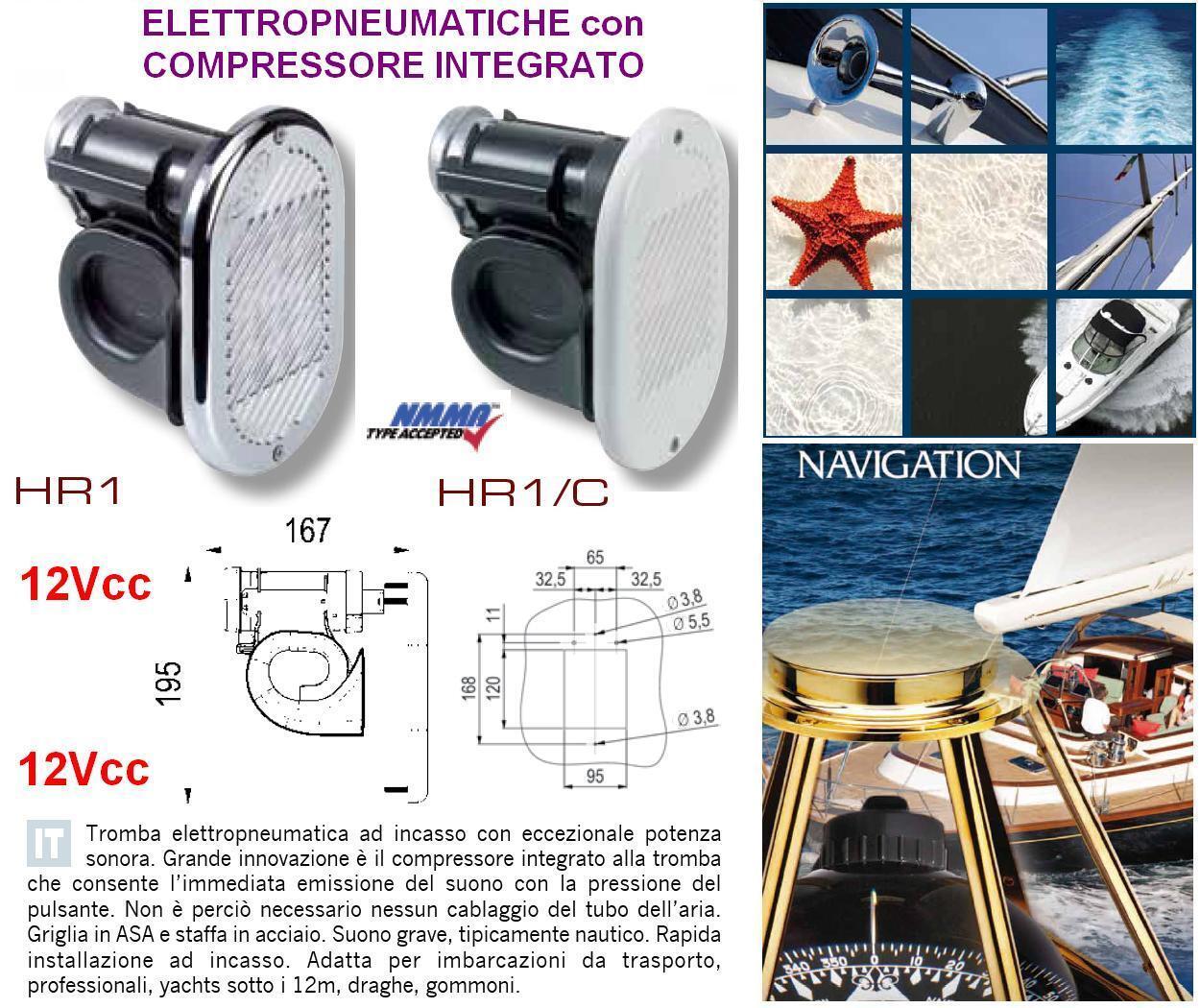 Trompete MARINA Einbau Chrom Pneumatisch mit Kompressor integriert Stiefel HR1C