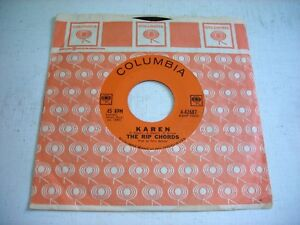 w-SLEEVE-The-Rip-Chords-Karen-Here-I-Stand-1963-45rpm-VG