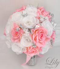 17 Piece Package Silk Flower Wedding Bridal Bouquet Decoration PINK SILVER WHITE