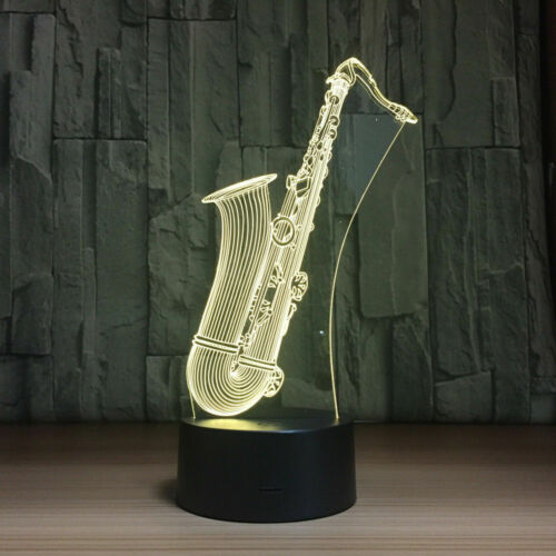 3D Saxophone Acrylic LED 7 Colour Night Light Touch Table Desk Lamp KIDS Gift