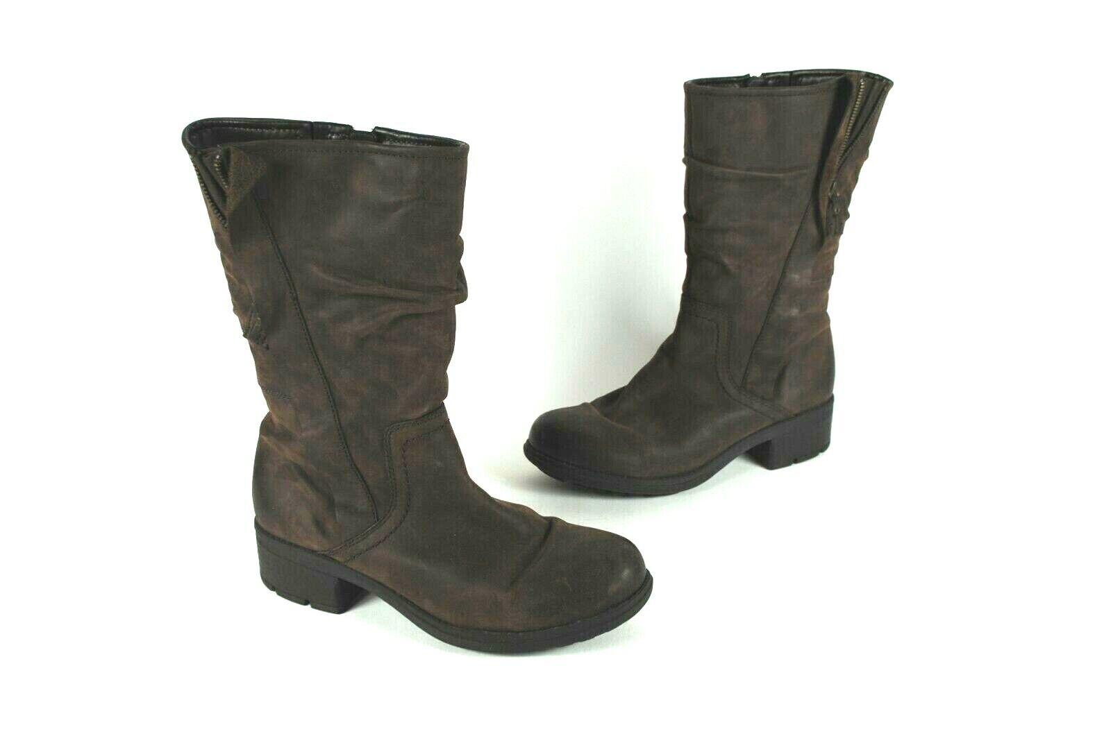 Para Mujer Clarks Mansi Enebro Cuero Marrón botas  precio minorista sugerido por el fabricante Alto Cremallera Lateral