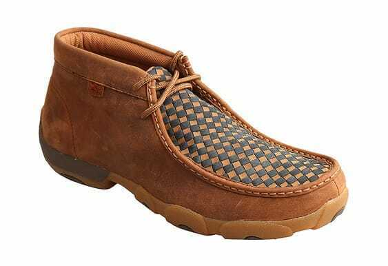 Twisted X Boots Men's MDM0057 Driving Moc Chukka Oiled Saddle bluee Leather