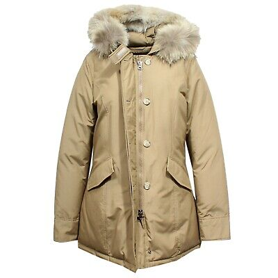 the latest 409c4 cd282 F9148 parka donna WOOLRICH ARTIC PARKA DARK BEIGE real fur jacket woman |  eBay