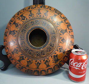 Antique-Indian-Lacquer-on-Wood-Large-Sgrafitto-Tobacco-Bowl-Box