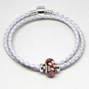 Details About Double Leather Bracelet With 925 Silver Clip Stoppers Murano Charm In White