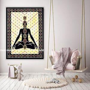 Seven Chakra Buddha Wall Hanging Small Tapestry Poster Handmade Indian Ethnic