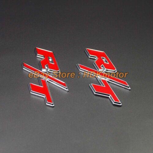 High Quality Chromed Alloy Car Floor Mat Carpet Logo Emblem fit Dodge R//T Red