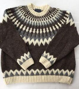James Sweater Paul Pullover England grigio avorio marrone Sz di lana M 1wqSqxdn45