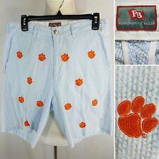 PENNINGTON & BAILES Clemson Tigers Men's 30 Blue Striped Seersucker Shorts EUC