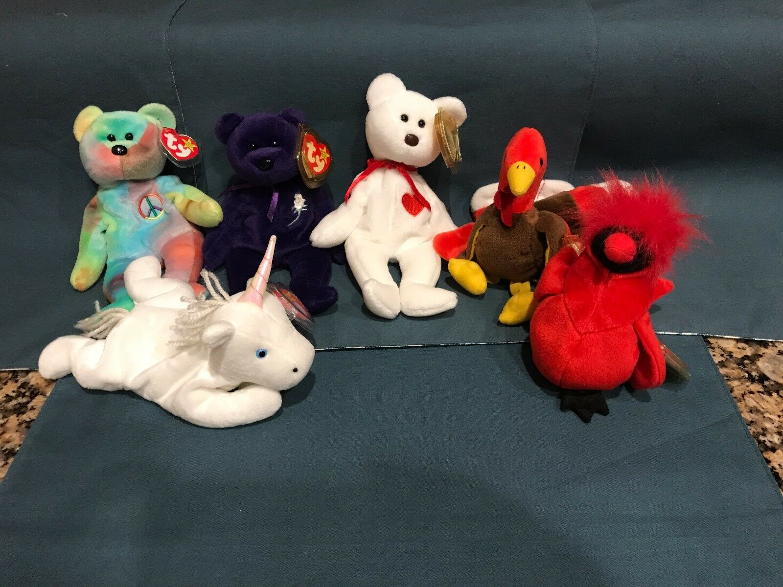Ty Beanie Babies  Baby Popular Set Princess Peace Valentino Mac Mystic Gobbles