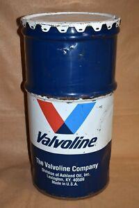 """Vtg Valvoline Oil or Grease Barrel Drum, 27"""" Trash Can for Shop - Man Cave w/Lid"""