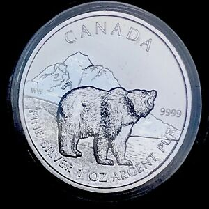 2011-Canada-Grizzly-Maple-Canadian-Wildlife-Series-1oz-Silver-9999-BU-Coin