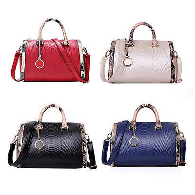 Women's Python PU Leather Satchel Crossbody Messenger Shoulder Bag Tote Handbag