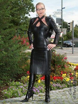 Lederkleid Leder Kleid Schwarz Neckholder Knielang Größe 32 - 58 XS - XXXL