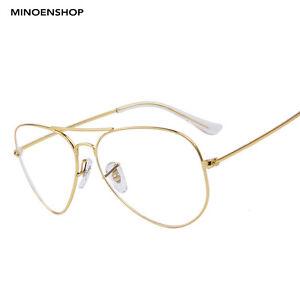 edf94302c3b Classic Gold Frame Clear Lens Metal Pilot Glasses Fashion Retro ...