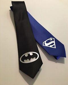 Batman-Necktie-And-Superman-Tie-Silver-Logo-New
