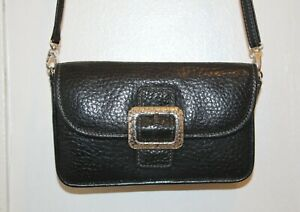 BRIGHTON-Black-Pebbled-Leather-Buckle-Flap-Small-Crossbody-Bag-Purse-Organizer