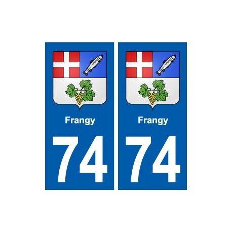 74 Frangy blason autocollant plaque stickers ville arrondis