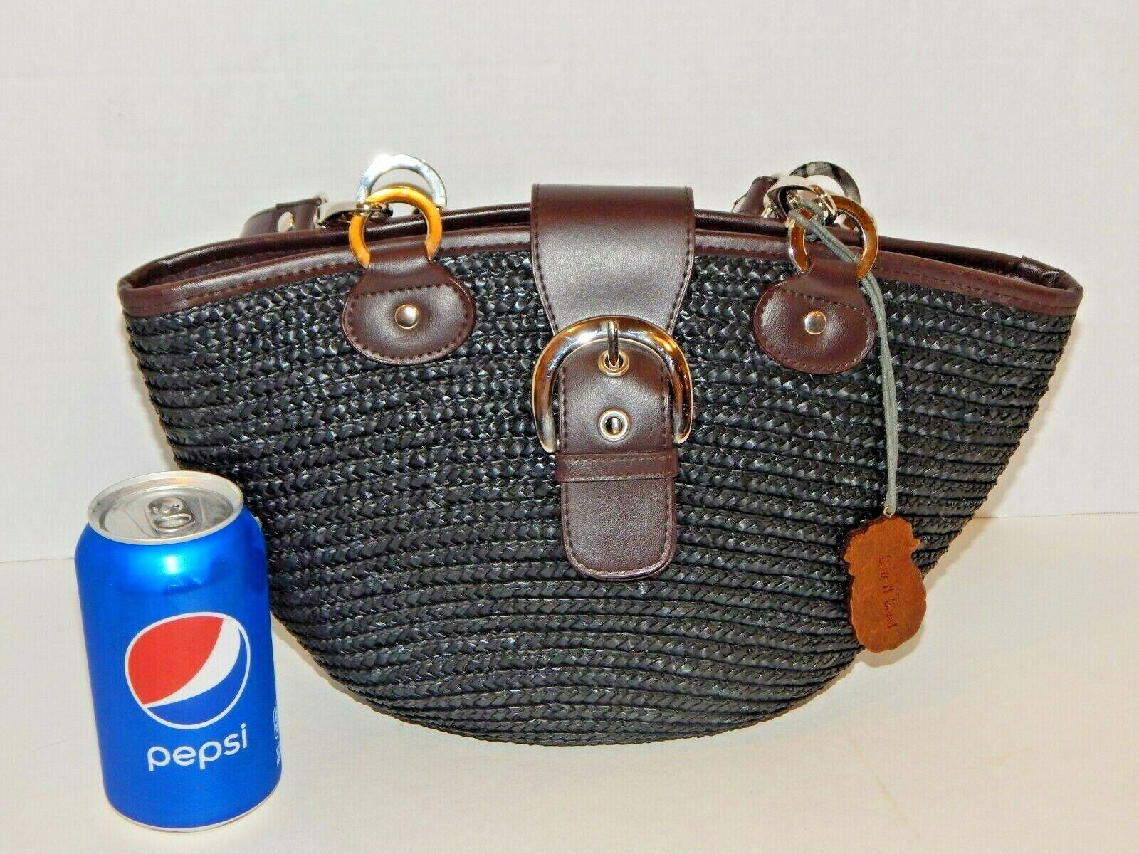 Medium Black Straw HOBO Tote Shoulder Purse Bag - Cell Pocket - SUN & SAND