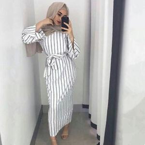 d631aba491a72 Details about 2018 Muslim Women Modest Maxi Dress Abaya Turkey Stripe Long  Robe Kaftan Clothes