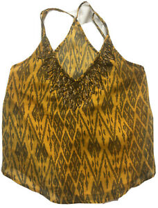 Ecote-Urban-Outfitters-Yellow-Tribal-Sequined-Sleeveless-Tank-Top-Size-Small