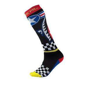 O'Neal Pro MX Knie Socken Wingman Schwarz Blau Strümpfe Motocross Enduro Offroad