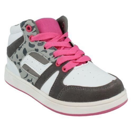 Filles Spot on à Lacets Patineuse Baskets Montantes Blanc Rose Chaussures De Sport H4R082