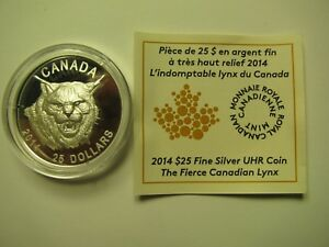 2014-Proof-25-Fierce-Canadian-Lynx-UHR-Canada-COIN-amp-COA-ONLY-Ultra-High-Relief