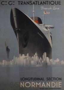 Cie-Gle-TRANSATLANTIQUE-SS-NORMANDIE-FRENCH-LINE-French-Travel-Poster-Art-Deco
